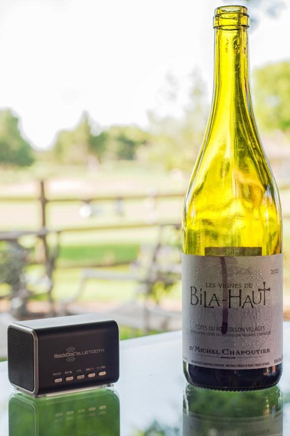 RockDoc-Bluetooth-Speaker-Outdoors-Les-Vignes-De-Bila-Haut-Wine