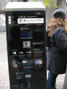A Bixi kiosk, it was difficult to read when in direct sunlight.