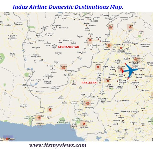 Indus Airline Domestic Desinations Map