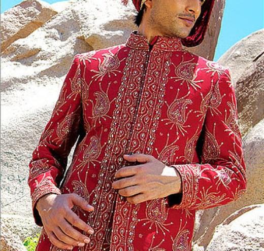 Latest Manish-malhotra Groom sherwani Red Golden color design 2013 with Price