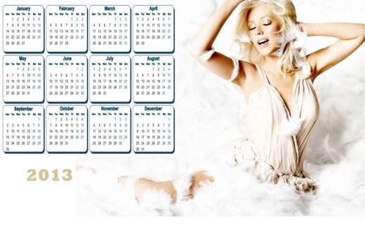 2013 Calendar Most Beautiful Hollywood Female HD widescreen desktop PC