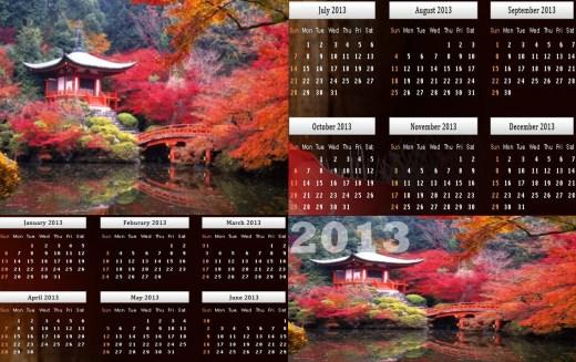 2013-Calendar-Natural Beauty Wallpapers HD background