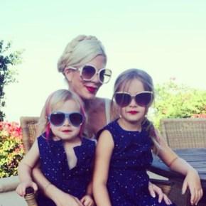 Torri Spelling with her daughters Hattie, 2, and Stella, 6