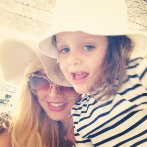 Rachel Zoe soaking up the sun with her son