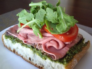 Open-facedroast beef and pesto sandwich
