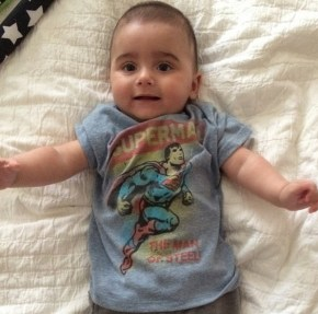 "Nicholas, 6-months, is Mark Philippoussis' ""little superman"""