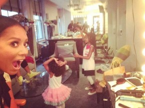 Mel B's daughters backstage