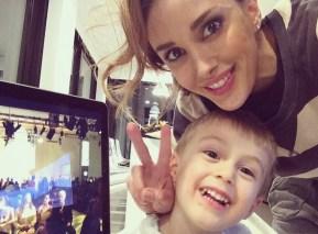 Bec Judd with her son Oscar, 3