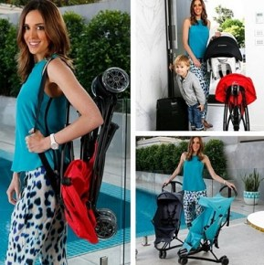 Bec Judd shows off some prams with her son Oscar, 3