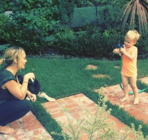 Hilary Duff playing with her son Luca.