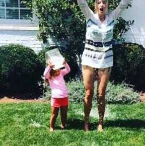 Ivanka Trump and her daughter Arabella doing the ice bucket challenge