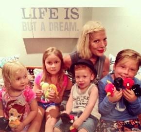 Tori Spelling with her children Liam, Stella, Hattie and Finn