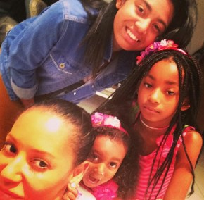 Mel B with her daughter's Phoenix, Angel and Madison