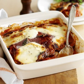 Aubergine Gratin with Ham and Mozzarella Cheese