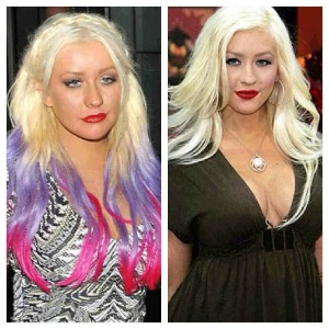 celeb hair transformation Christina Aguilera
