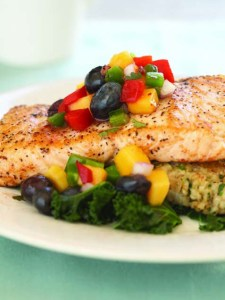 Salmon with Blueberry and Mango Salsa