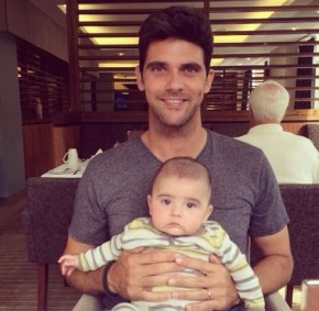 Mark Philippossis and his son enjoying breakfast