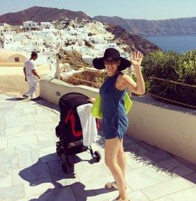Zoe Blake pushing Sonny in Santorini