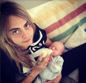 Cara Delevigne with her niece