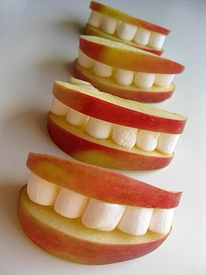 Apple and Marshmallow Smiles, fun snacks for kids
