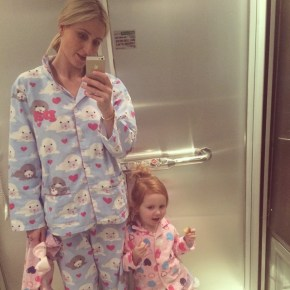 Roxy with her daughter Pixie in matching PJs
