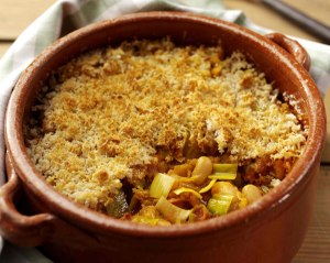 Cassoulet with leeks, chorizo and herbs