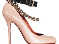 Pump with chain anklet strap and leather ankle strap