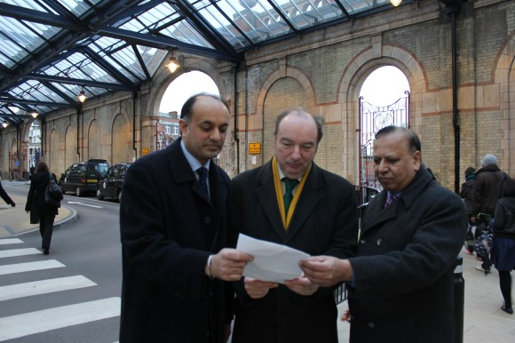 Sital Singh Gill and Parmjit Singh Gill with Transport Minister