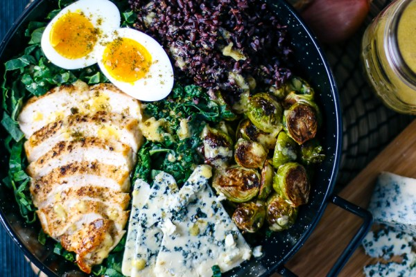 Winter Chicken & Kale Salad with Roasted Brussel Sprouts, Blue Cheese & Wild Rice with Shallot Vinaigrette | I Will Not Eat Oysters