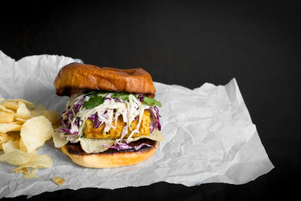 Hawaij Fish Sandwich with Tahini Slaw and Salt & Vinegar Chips on toasted Brioche Bun   I Will Not Eat Oysters