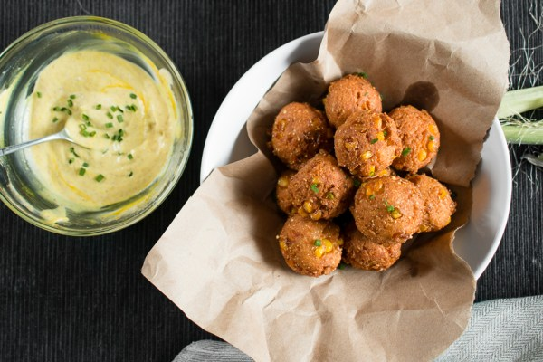 Matza Ball Hush Puppies with Curry Mayo   I Will Not Eat Oysters