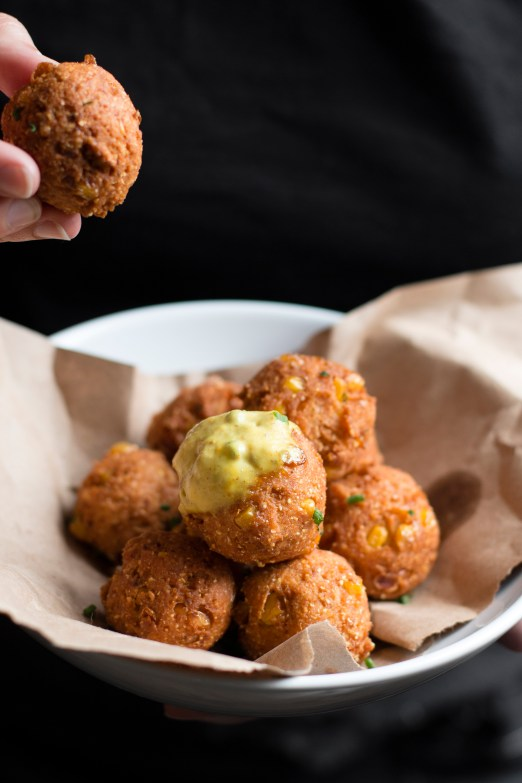 Matza Ball Hush Puppies with Curry Mayo | I Will Not Eat Oysters