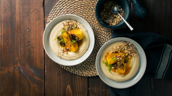 Braised Fennel with Saffron and Raisins over Hummus with Dukkah | Recipe from I Will Not Eat Oysters