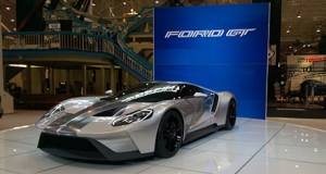 The Ford GT highlights an amazing booth from the Ford Motor Co. at the 2015 Cleveland Auto Show.