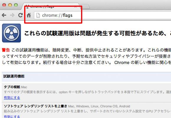 Chrome Flags 設定画面