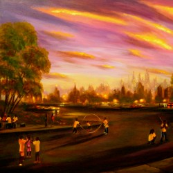 "Street Games, oil on canvas, 32x48"",  2004"