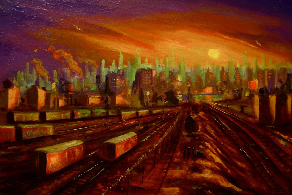 "Train Yard, oil on panel, 16x22"" 2014"