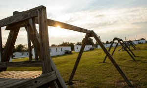 The swing set where Lennon Lacy was found hanging from in a trailer park in the rural town of Bladenboro, North Carolina. Photograph: Andrew Craft/Guardian
