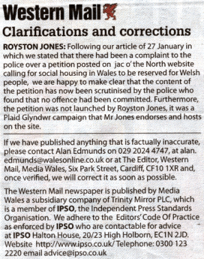 Western Mail apology
