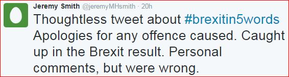 Tweet Jeremy Smith apology