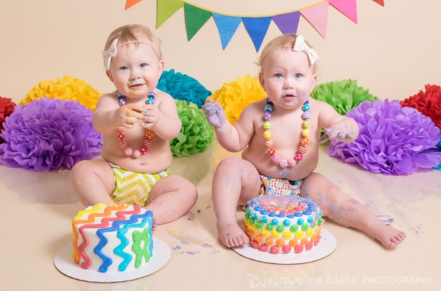 twin girl one year smash cake photo session
