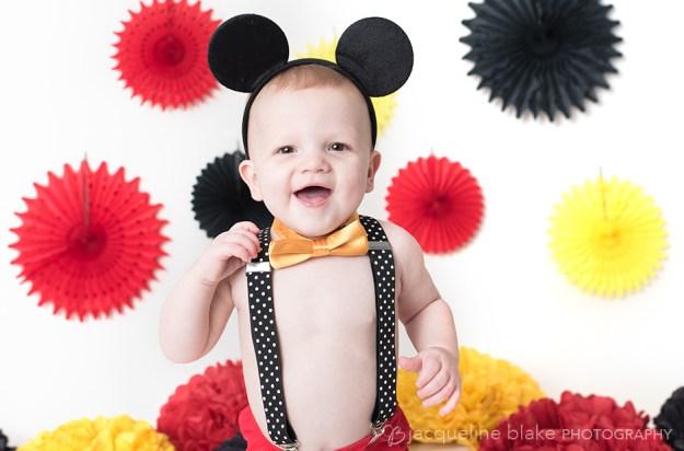 First birthday Mickey Mouse smash cake photography, ham lake photographer
