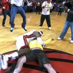 LeBron James Celebrates With Fan After Shoting Half-Court Hook Shot For 75k