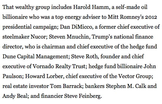 RT @BWJones: Trumps economic team: Steve Steve Steve Steve Steve John Tom Peter David Harold…