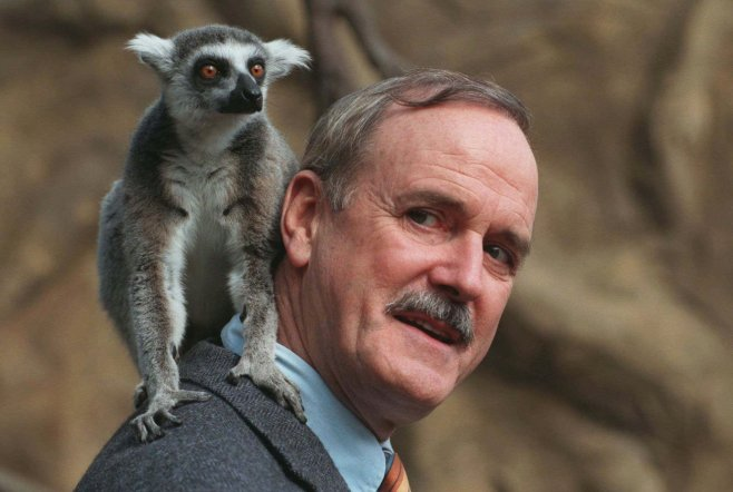 "British actor John Clesse poses with a lemur on his shoulder at the Skansen Zoo in Stockholm City Tuesday April 22 1997. Cleese is in town to promote his new film ""Fierce Creatures"", with a lemur playing one of the characters. (AP photo/Hans T Dahlskog)"