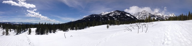 A panorama from my day snow shoeing.