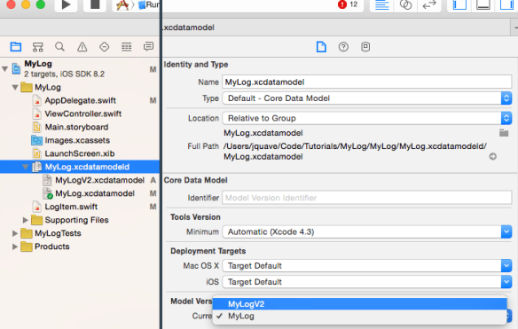 Changing the Core Data Model Version in Xcode
