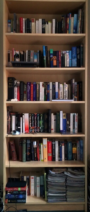 Five shelves of unread books. It's embarrassing, really.