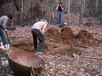 Preparation for explosion molding, view #3, Digging the earthen mold (for sculpture Three Balls Covered)
