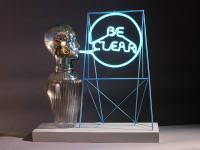 "Be Clear, 24"" x 24"" x 6"", fabricated mild steel, found objects, argon tube, electronics"